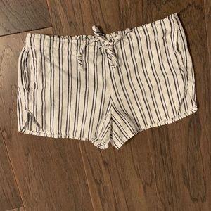 Brandy Melville linen blend navy stripe shorts